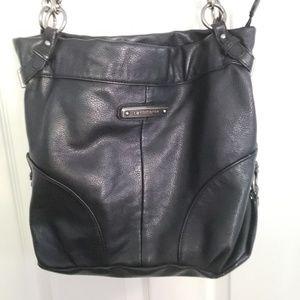 Liz Claiborne Black Leather Bucket Bag Purse